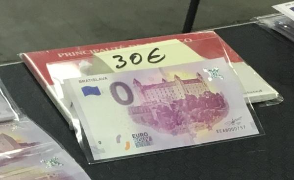 Bratislavský hrad bankovka s chybou, nula eur