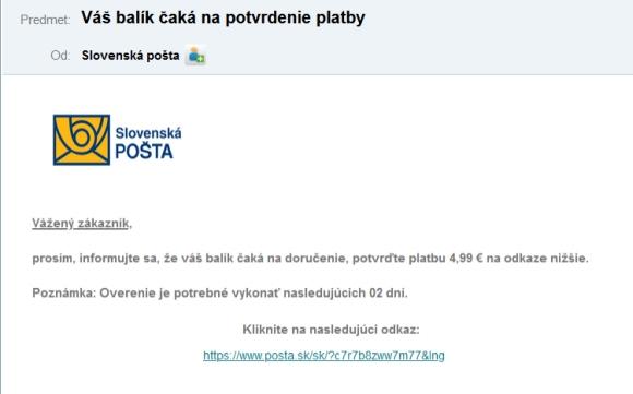 SLovenská pošta falošné emaily